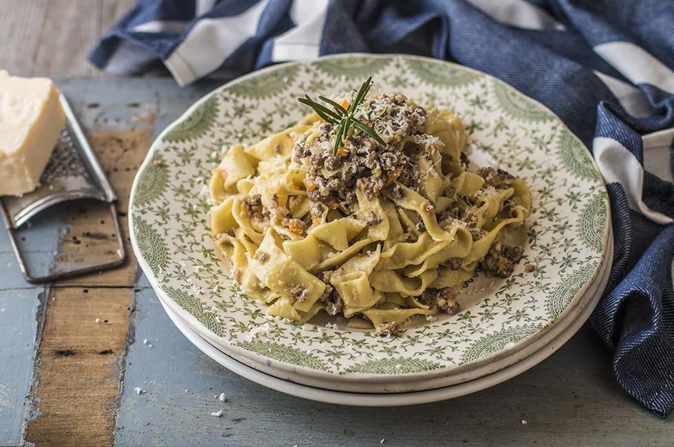 Pappardelle Al Ragus di Cinghiale (Italiaans gerecht: pasta & wild zwijn)